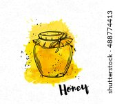 hand drawn honey bank on a... | Shutterstock .eps vector #488774413