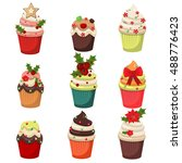 christmas cupcakes and muffins... | Shutterstock .eps vector #488776423