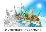 famous landmarks of the world... | Shutterstock . vector #488778247