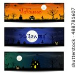 set of three halloween banners. ... | Shutterstock .eps vector #488781607