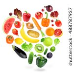 falling fruits and vegetables... | Shutterstock . vector #488787937