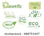 retro set of 100 healthy food...   Shutterstock .eps vector #488791447