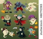 vintage halloween poster design ... | Shutterstock .eps vector #488793583
