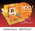 halloween pop up book. vector... | Shutterstock .eps vector #488795167