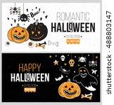 halloween party poster  flyer ... | Shutterstock .eps vector #488803147