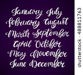 set of month names of the year. ... | Shutterstock .eps vector #488811763