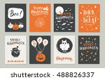 vector halloween greeting card  ... | Shutterstock .eps vector #488826337