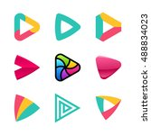 set of colorful play button... | Shutterstock .eps vector #488834023