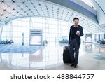 young business man in airport.  ... | Shutterstock . vector #488844757