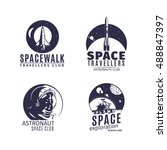space logo set in retro style.... | Shutterstock .eps vector #488847397