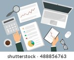 business people working a on a... | Shutterstock .eps vector #488856763
