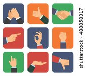 icon set of hands in different... | Shutterstock .eps vector #488858317
