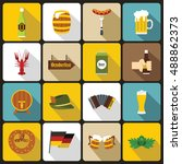 oktoberfest icons set in flat...   Shutterstock . vector #488862373