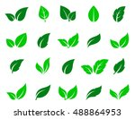 green abstract leaf icons... | Shutterstock .eps vector #488864953