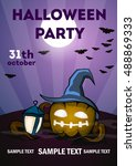 halloween poster a4. scary... | Shutterstock .eps vector #488869333