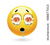 hungry smiley with pizza... | Shutterstock .eps vector #488877013