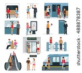 flat design set with people in... | Shutterstock .eps vector #488878387