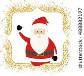 lovely santa claus in golden... | Shutterstock .eps vector #488882197