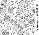 seamless pattern with exotic... | Shutterstock .eps vector #488887243