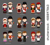 people in national dress.... | Shutterstock .eps vector #488897863