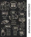 breakfast menu placemat food... | Shutterstock .eps vector #488902363