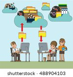 office workers work with... | Shutterstock .eps vector #488904103