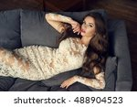 young sexy woman in white lace... | Shutterstock . vector #488904523