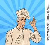 professional chef cook...   Shutterstock .eps vector #488910433