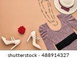 vintage. autumn fashion woman... | Shutterstock . vector #488914327
