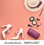 fashion lady accessories set.... | Shutterstock . vector #488914387