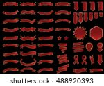 banner red vector icon set on... | Shutterstock .eps vector #488920393