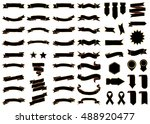 Banner black vector icon set on white background. Ribbon isolated shapes illustration of gift and accessory. Christmas sticker and decoration for app and web. Label, badge and borders collection. | Shutterstock vector #488920477
