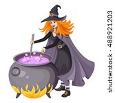 red haired beautiful witch in... | Shutterstock .eps vector #488921203