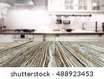 kitchen interior and wooden... | Shutterstock . vector #488923453