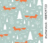 seamless christmas pattern | Shutterstock .eps vector #488929723