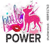 pink power. typography graphic... | Shutterstock .eps vector #488931763