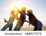 cheering friends party and... | Shutterstock . vector #488937073