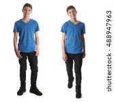cute teenager boy in blue t... | Shutterstock . vector #488947963