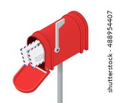 Open Red Mailbox And Letters I...