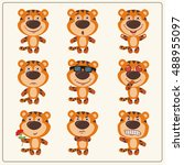 vector set isolated emotion... | Shutterstock .eps vector #488955097