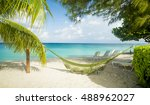 hammock on seven mile beach on... | Shutterstock . vector #488962027