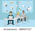 busy students working at... | Shutterstock .eps vector #488967517