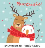 christmas card. funny... | Shutterstock .eps vector #488973397