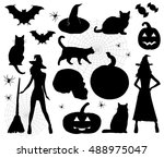 halloween icons. vector... | Shutterstock .eps vector #488975047