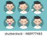 bearded man profile pics   set... | Shutterstock .eps vector #488977483