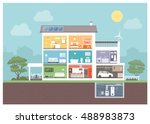 modern house cross section with ... | Shutterstock .eps vector #488983873