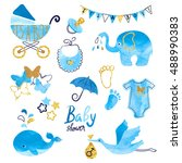 watercolor baby shower boy set. ... | Shutterstock .eps vector #488990383