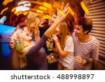 people in night club dancing ... | Shutterstock . vector #488998897