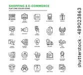 set of modern flat line icon... | Shutterstock .eps vector #489023863