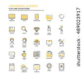 set of modern flat line icon... | Shutterstock .eps vector #489023917